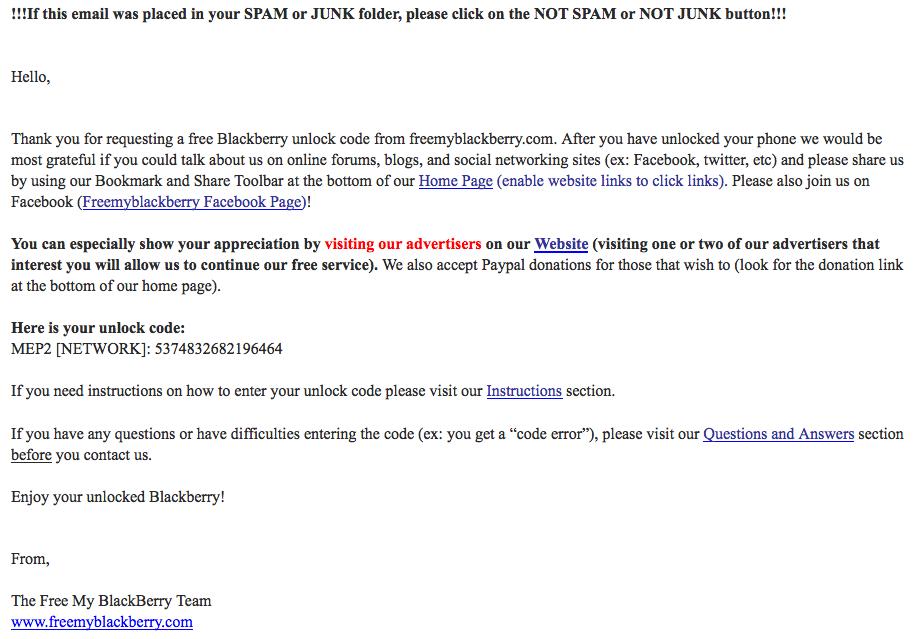 Desimlockage Blackberry Gratuit - eXpérience2Geek